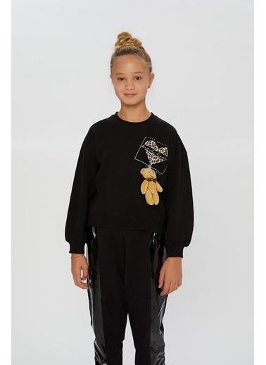 Little Star Little Star Kız Çocuk Baskılı Sweatshirt Siyah
